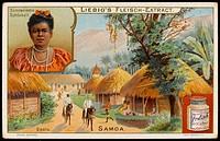 A Samoan village. Inset - a young Samoan woman
