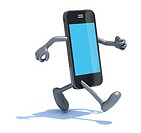 smart phone with arms and legs that runs, 3d illustration.