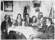 Romanian peasant girl who manifested strange stigmata, with some early investigators : Fritz Grunewald is on the left. She is third from right.