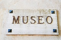 Close-up of a museum sign, Amalfi, Province Of Salerno, Campania, Italy