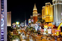 Las Vegas, NV, Strip at Night, Seen from an Overhead Terrace.