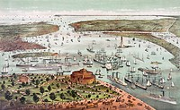 The Port of New York, America, Birds eye view from the Battery, looking south. harbour, harbours