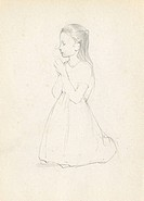 Pencil sketch of a girl kneeling and praying.