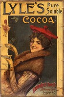 Advertisement showing a smiling young woman wearing a tam o'shanter and fur collar coat holding a steaming hot cup of Lyle's Cocoa made by Abram Lyle ...
