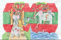 Noahs Ark - red and green boat with elephants, snakes, giraffes etc.