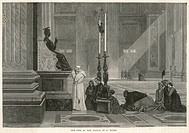 Pope Pius IX prays at the Statue of St Peter