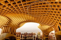 The Mushrooms Metropol Parasol Seville Andalusia Spain. World's largest wooden structure. Completed in 2011 designed by Jurgen Mayer-Hermann.