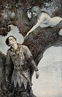 A medieval knight in chainmail is tempted by a naked nymph balancing on the branch of a tree.