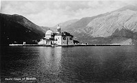 Montenegro - Gospa od Skrpjela - Our Lady Made of Rocks - a baroque church on one of two man-made islets, deep in the Bay of Kotor, across from the to...