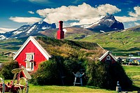 Turf house. Bakkagerdi village. Borgarfjordur Eystri Fjord. East Fjords. Iceland, Europe