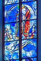 Glass windows by Marc Chagall, east choir, St. Stephen's Church in Mainz, Rhineland-Palatinate, Germany