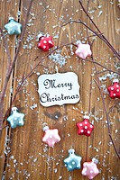 Wooden background with christmas ornaments