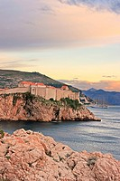 Old town of Dubrovnik at sunset