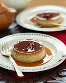 Cinnamon Flan on a Plate with a Fork