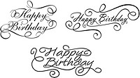Happy birthday calligraphic embellishments set for holiday design