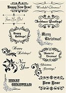 Winter holidays calligraphic elements with scripts and decorations for Christmas or New Year design.