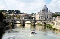 Vittorio Emanuele II bridge and the basilica of Saint Peter - Rome, Italy.