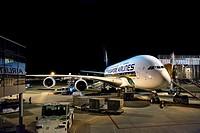Airbus A380 Jet airliner loaded at gate_Narita Airport_near Tokyo_Japan.