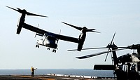 ATLANTIC OCEAN (Oct. 18, 2010) An MV-22B Osprey assigned to Marine Medium Tiltrotor Squadron (VMM) 263 takes off from the multipurpose amphibious assa...