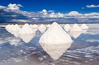 Salt cones, Salar de Uyuni, Potosi, Bolivia.