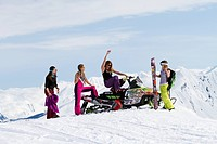 Lynsey Dyer Lauren Georgelos, Sierra Quitiquit And Lizet Christiansen Hanging Out In The Sunshine While Backcountry Skiing In The Chugach Mountains In...