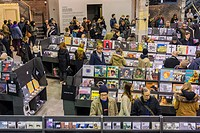 The newly opened Rough Trade NYC record store in the Williamsburg neighborhood of Brooklyn in New York. The 15, 000 square foot store in the hipster n...