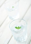 Glasses of water with mint leaves