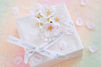Wrapped gift with ribbon and cherry blossoms