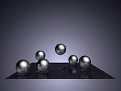 Metallic floating spheres
