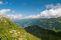 Austria, Allgaeu Alps, Vorarlberg, View from Fellhorn to Kleinwalsertal