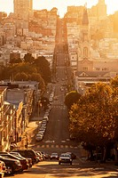 Filbert Street with Saint Peter and Paul Catholic Church at sunset,San Francisco,California,USA