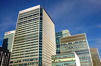 London, England, UK. Docklands / Canary Wharf. Modern office buildings.