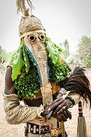 Bassari celebration with dancers on traditional clothes, Ethiolo village, Bassari country, Senegal, Africa.