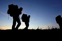 Hikers and trekking pictured with their bag packs in Luxembourg