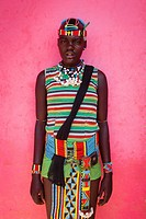 A Girl From The Banna Tribe In Traditional Costume, Key Afar, Omo Valley, Ethiopia.