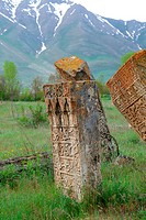 old graveyard of Gevas, Turkey, East Anatolia, province Van, Lake Van, Ahtamar, burial plots, gravestone, Seljuqs, Seljuq architecture