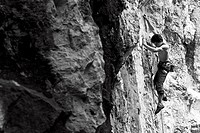 Climbing on the New Zealand Wall, Kochel am See, Bavaria, Germany