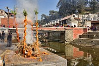 cremation ceremony at Pashtupatinath, Kathmandu, Nepal.