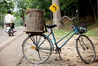 Bicycle from a fruit seller parked in the Angkor Archeological park in Cambodia.