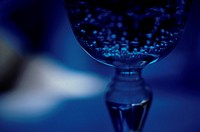 Close_up of glass in blue light