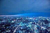Illuminated night time view. Ebisu, Shinjuku_ku, Tokyo Prefecture, Japan