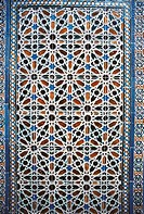 Decorative element in azulejos (Portuguese painted, tin-glazed, ceramic tilework), Cordoba, Andalusia, Spain.