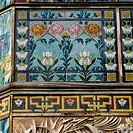 Floral motifs (20th century), decorative detail from Villa Angerer, Sanremo, Liguria, Italy.