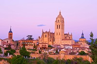 Segovia Cathedral, at sunset, Segovia, Castile and León, Spain