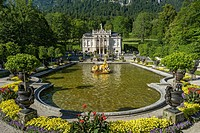 Water parterre with the Flora fountain, palace gardens in front of Schloss Linderhof Palace, Upper Bavaria, Bavaria, Germany