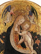Madonna and Child Crowned by Two angels (Madonna of the Quail), by Antonio Pisano known as il Pisanello, 15th Century, 1420, tempera, cm 67 x 44. Ital...