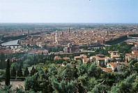 Verona. View of Old Town, . Italy, Veneto, Verona. A view from far away of the city, on the garden full of trees and plants to the north. Beyond the A...