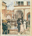 Inauguration of art and archaeological museums in Milan, 20th Century, . Italy, private collection. All. A full page coloured illustration on the Dome...