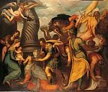 Adoration of the Magi, by Schiavone Andrea, 16th Century, oil on canvas, . Italy, Lombardy, Milan, Pinacoteca Ambrosiana. All. The Magi, Kaspar, Melch...