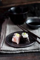 Nigiri sushi and maki sushi with bream
